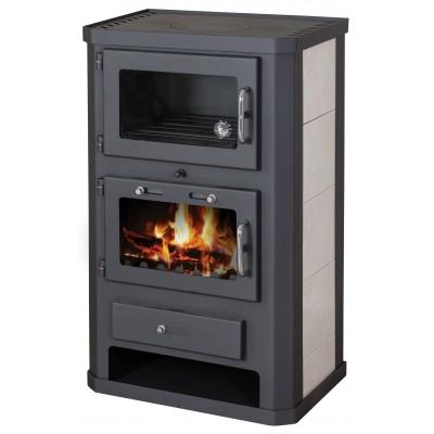 Wood Burning Stove Oven 11-15 kW Cooker Ceramic Lining Rear Flue Exit BlmSchV-2