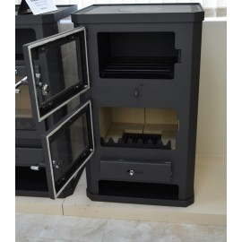 Wood Burning Stove Oven 11-15 kW Cooker Ceramic Lining Rear Flue Exit BlmSchV-2