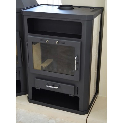 Wood Burning Stove Modern Back Boiler Fireplace Multi Fuel Water Jacket 14 kw