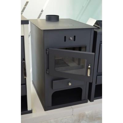Wood Burning Stove Modern Back Boiler Fireplace Multi Fuel Water Jacket 15 kw