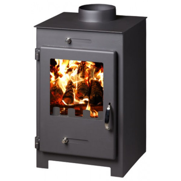 Wood Burning Stove Fireplace Burner Log Solid Fuel Ceramic Glass Top Flue 5 kw