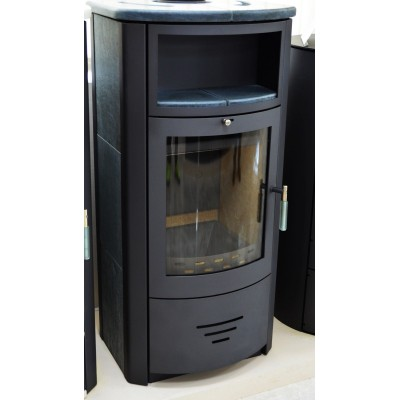 Wood Burning Stove Fireplace Log Burner Top Flue 7-12 KW Room Thermostat incl