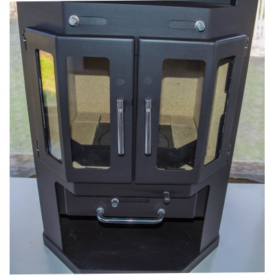 Wood Burning Stove Ceramic Lining Fireplace Log Burner Two Doors 10 Kw BImSchV 1