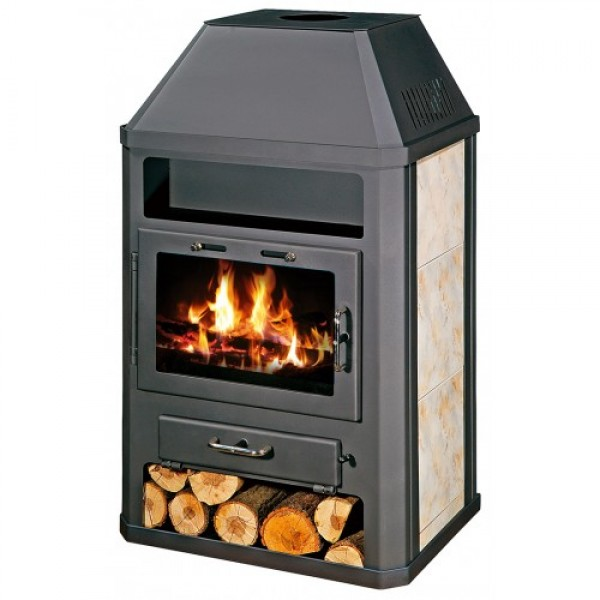 Wood Burning Stove Fireplace Modern Log Burner Ceramic Lining Solid Fuel 14kw