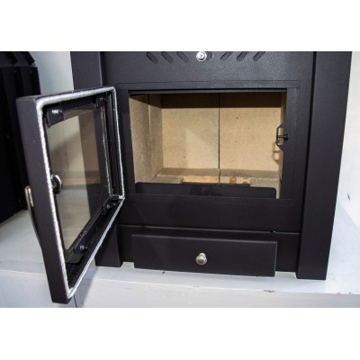 Insert Wood Burning Stove Inset Fireplace Built In Solid Fuel 10-15 kw SAHARA
