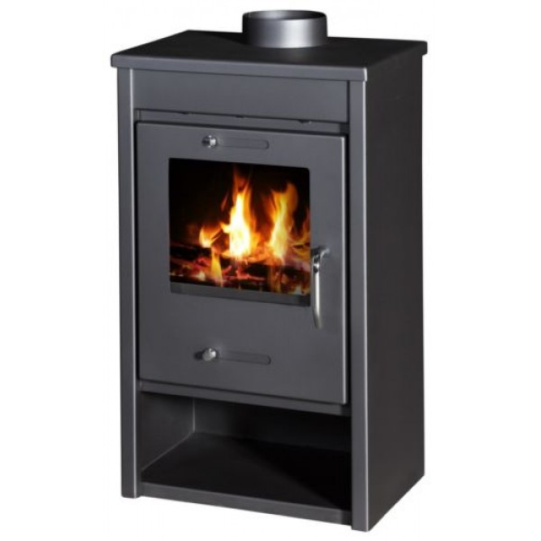 Wood Burning Stove 13 kW Fireplace Slim Design Top Flue DELUX LG