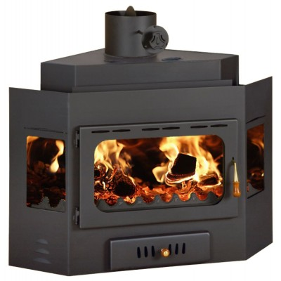 Corner Model Built in Fireplace Prity А 14 kW Wood Burning Firebox Solid Fuel