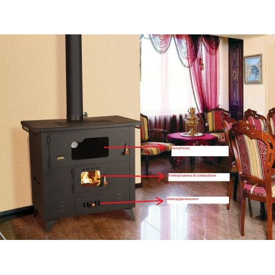 WOOD BURNING COOKING STOVE CAST IRON TOP FIREPLACE SOLID FUEL OVEN COOKER