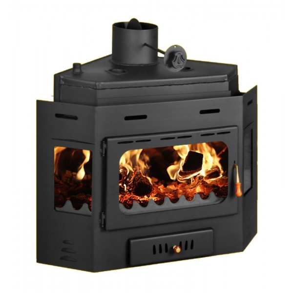 Firebox for Central Heating Inset Wood Burning Stove with Boiler Insert Built in Fireplace Prity АW16 Corner Model