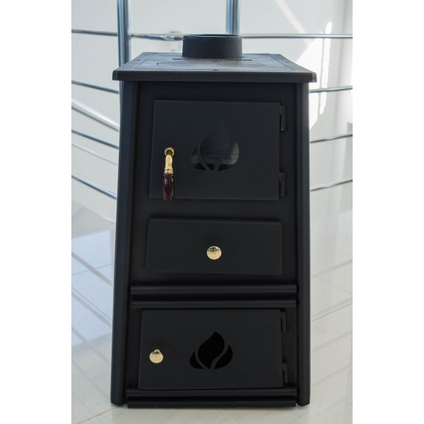Wood Burning Stove Fireplace Solid Fuel Log Cast Iron Top PROMETEY MINI A 6kW