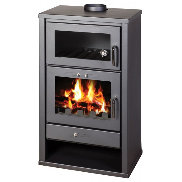 Wood Burning Stove with Oven 20kW Cooking Fireplace Solid Fuel Top Flue BlmSchV2