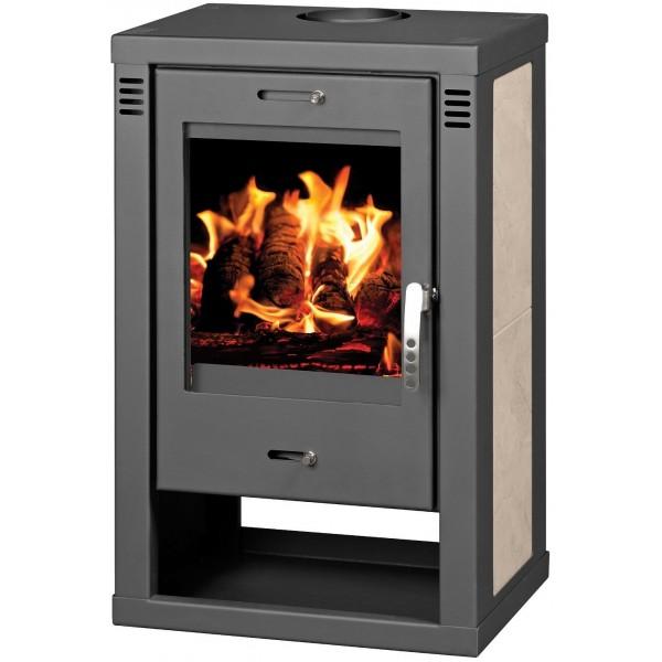Wood Burning Stove 9-12 kW Fireplace Ceramic Lining Low Emissions DIN Plis