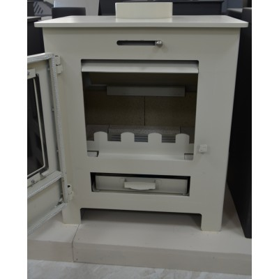 Wood Burning Stove Ivory Color Top Flue 6-8 kW Fireplace Wood / Coal Log Burner