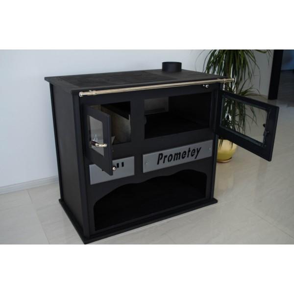 Woodburning cookin stove oven with glass PROMETEY 11 kW - PRAKTIK - LUX