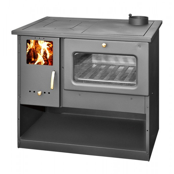 Wood Burning Cooking Stove With Oven Metalik
