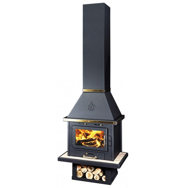 Wood Burning Stove With Integral Orion Lux B Inox