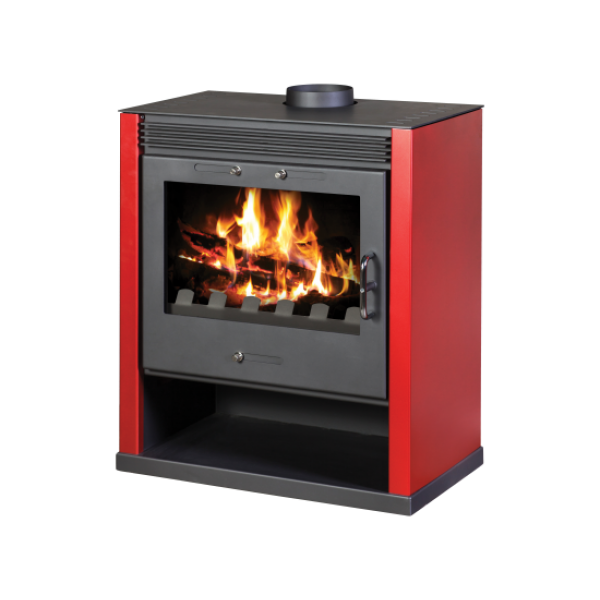 Wood Burning Stove With Integral Boiler Rubin B (Red Color)
