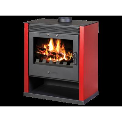 Wood Burning Stove With Integral Boiler Rubin BO (Red Color)