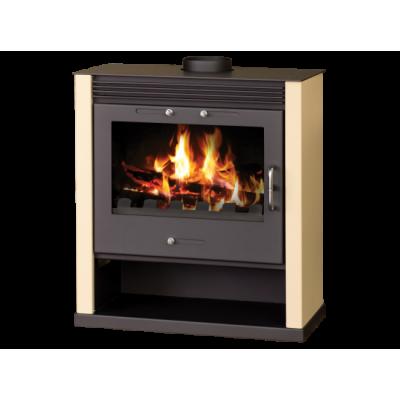 Wood Burning Stove With Integral Boiler Rubin BO (Ivory Color)